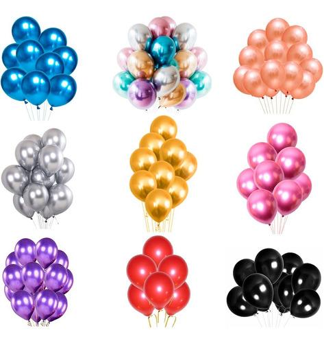 Balão Bexiga Metalizado - Várias Cores - N°9 C/ 25 Unidades