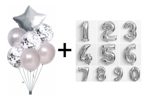 Kit Buque Baloes Estrela Prata C/7 + 2 Balão Número 40cm