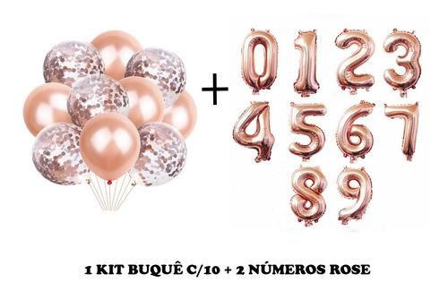 Kit C/10 Balão Bexiga Rose Gold + 2 Balão Números Rose 75cm