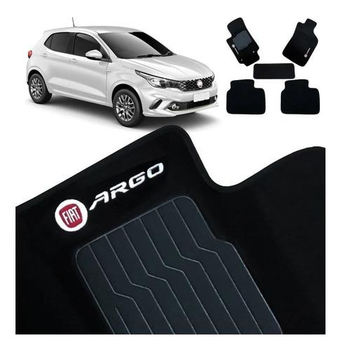 Tapete Carpete Com Logo Bordado Fiat Argo 2017 2018 Preto