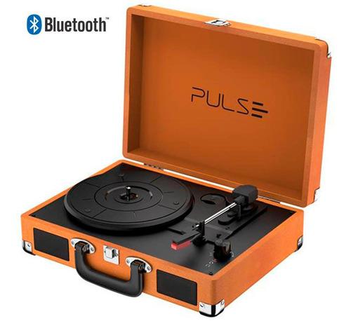 Vitrola Toca Discos Vinil Retro Mala Pulse Maleta Bluetooth