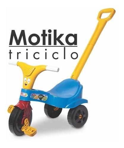 Triciclo Infantil Motoca Azul Menino C/ Empurrador