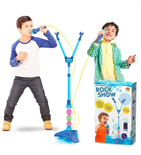 Microfone Infantil Duplo Rock Show Com Mp3 Luz Amplificador