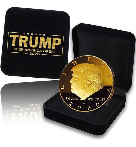 Coin Donald Trump 2020, Con La Caja De Regalo De Oro Chapado