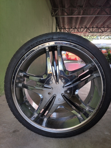 Roda Cromada Usadas Aro 20 Com Pneus 100% Multi De 4 Furos