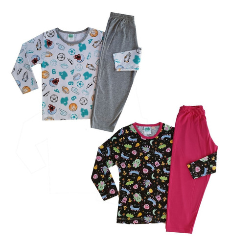 5 Pijamas Femininos Masculinos Infantil Revenda Atacado