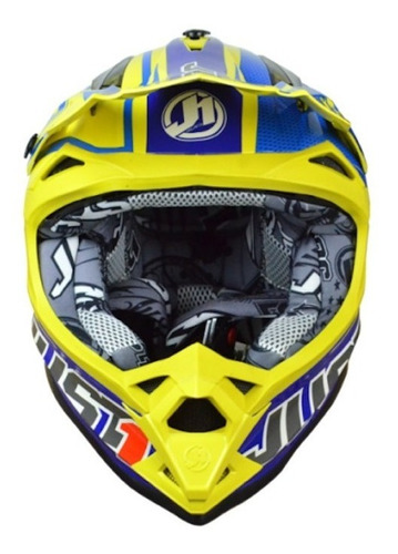 Casco Para Moto Cross Just1 J32 Pro Rave Blue Y Yellow Talle M