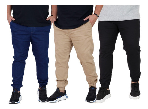 Kit 3 Calça Jeans Sarja Jogger Masculina Plus Size G1 G2 G3