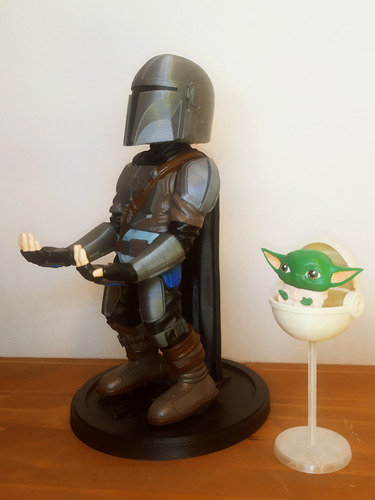 Soporte Mandalorian+grogu Bebé Yoda Joystick Xbox Ps4 Ps5
