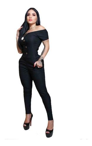 Macacão Feminino Decote Botões Bolso Detalhe Ombro Blogueira
