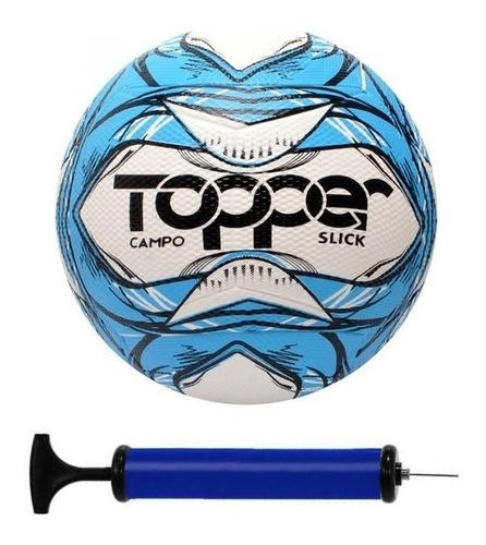 Bola Futebol Campo Topper Slick + Bomba De Ar