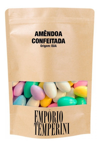 Amêndoas Confeitadas Coloridas Premium 500g Embalagem Zip