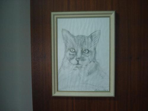Quadro Decorativo Desenho À Mão Gato Com Moldura