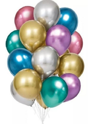 Bexiga Balões Metalizado Platino Nº 5 Pol C/ 25un - Consulte