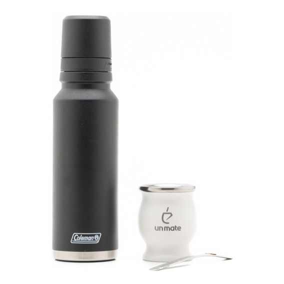 Mate Acero Blanco + Termo Acero Inoxidable Coleman 1.2lts
