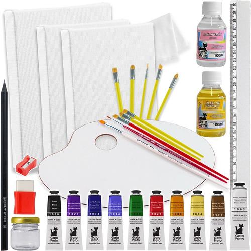Kit Pintura Tela + Paleta + Pinceis + Pote De Tinta + Tintas