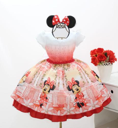 Vestido Infantil Minnie Rosa Aniversário+ Tiara De Orelhinha