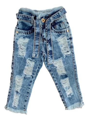 Calça Jeans Destroyed Rasgada Infantil Menina Mini Diva