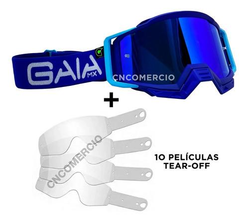 Óculos Gaia Mx Pró Blue Raze Azul 10 Película Tear Off