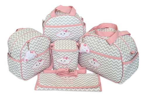 Kit Bolsas De Maternidade Mala Bebê Chuva De Amor Chevron