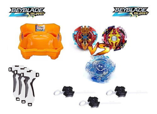 3 Beyblades Gyro + Arena Beyblade Hasbro+ 3 Lançadores Grip