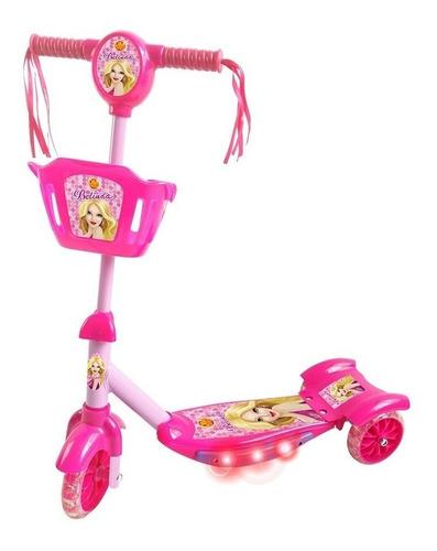 Patinete Infantil Rosa Meninas 3 Rodas Com Música E Luz