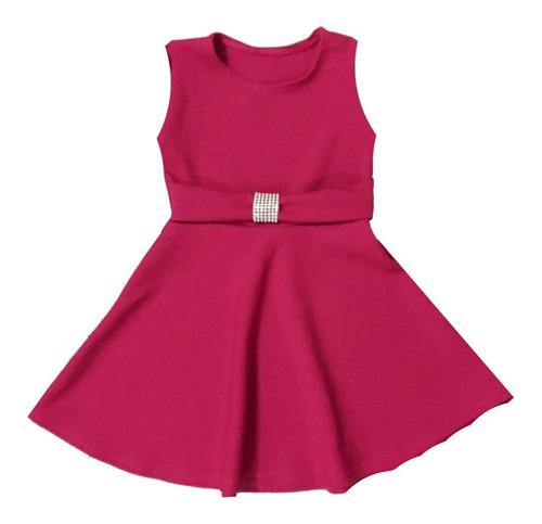 Vestido Infantil Rodado Regata Cinto E Fivela