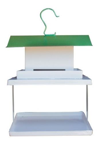 Comedouro Para Pássaro C/ Fruteira Fercar Telhado Verde