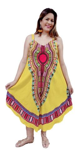 Vestido Feminino Longo Alça Trapézio Estampado Ge00155