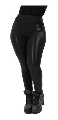 Calça Montaria Feminina Preta Com Detalhe Em Cirrê Flanelada