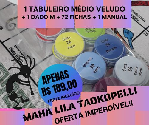 Tabuleiro Mahalila Veludo Médio + 72 Fichas + Dado 26mm