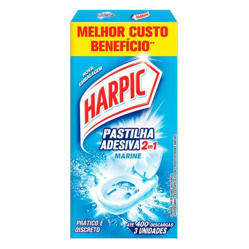 Detergente Sanitário Pastilha Adesiva Marine Harpic 3 Unidades