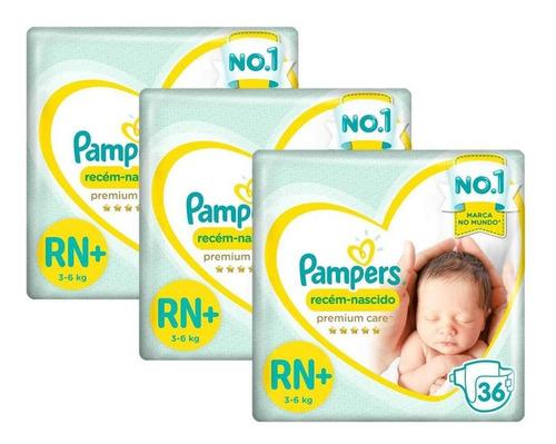 Kit Fralda Pampers Premium Care Rn Plus C/108 Unid.- 3 À 6kg