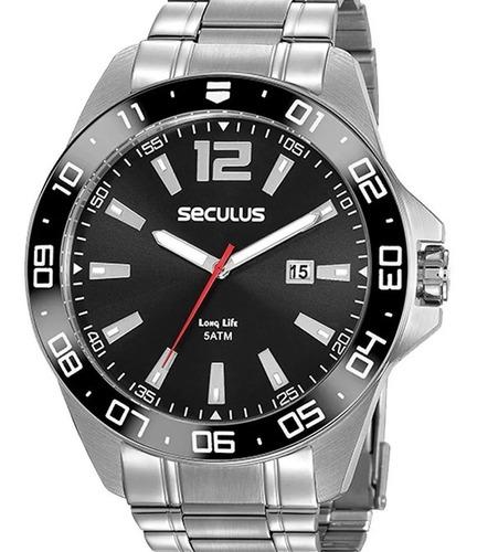 Relógio Seculus Masculino Prata Original Grande 20786g0svna1