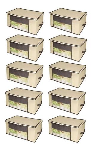 Kit 10 Caixa Organizadora 45x45x20cm Closet Roupa Coberta Edredom Travesseiro Casacos Armário Guarda Roupas Flexível
