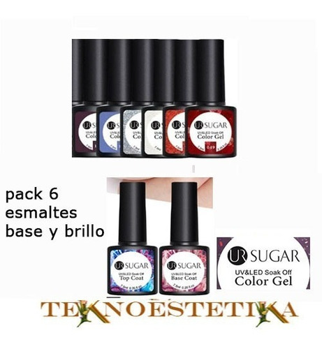 Pack  6 Esmaltes Semipermanentes Base - mL a $1482