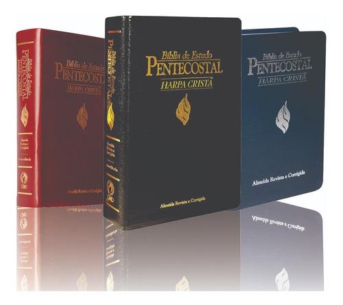Bíblia De Estudo Pentecostal Com Harpa Média Luxo Cpad