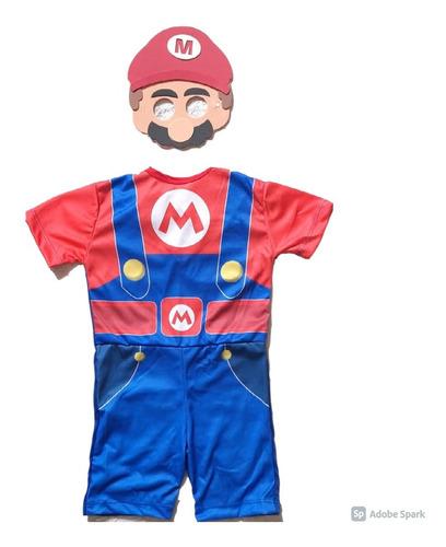 Fantasia Super Mario Bros Curto Infantil Com Mascara