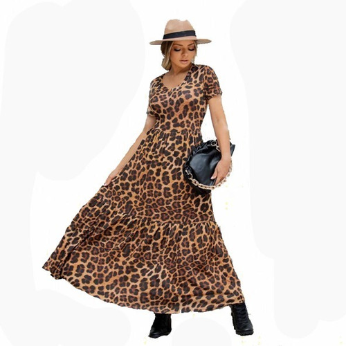 Vestido Longo Feminino Zara Onça