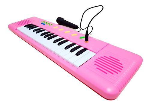 Teclado Infantil Rosa Com Microfone - Musical Resistente