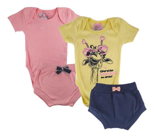 Kit 2 Conjuntos Roupa Bebê Menina Verão Body Tipo Carters