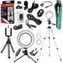 Kit Youtuber Lapela Celular Tripé 1, 30m Luz Ring Light Flash Iluminador Led Portátil Profissional 16cm Microfone Lentes