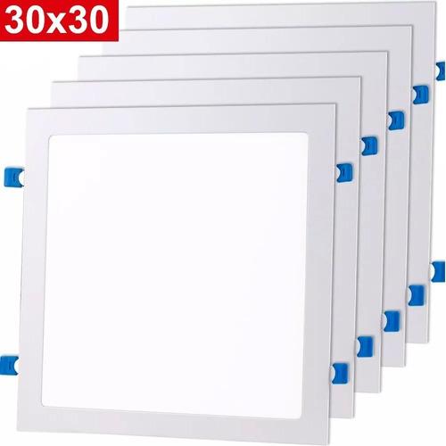 Kit 10 Plafon 25w 24w Painel Super Led Quadrado Embutir Com Reator Luz Branco Frio Luminária Bivolt Lampada Led