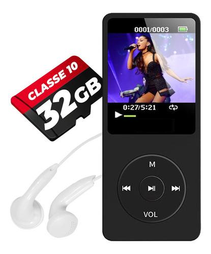 Mp3 Mp4 Player Audio Portátil Fm Alto Falante Corrida + 32gb