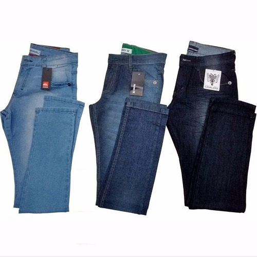 Kit 3 Calça Jeans Masculina Slim Skinny Marcas Top Atacado