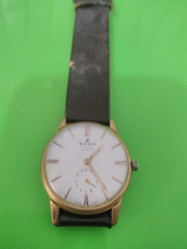 Mk Reloj Edox Automatico Con Baño De Oro 18k Corrrea De Piel