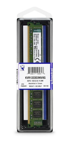 Memória Ram Valueram Color Verde  8gb 1x8gb Kingston Kvr1333d3n9/8g