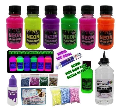 Kit Completo Para Fazer Slime Colas Neon Novidade