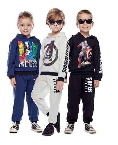 Kit 3 Conjuntos Moletom Crianças Ultimato Inverno Quentinho