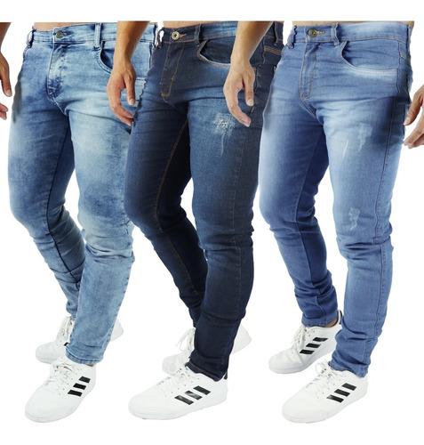 Kit  3 Calça Jeans Masculina Skinny Direto Da Fábrica
